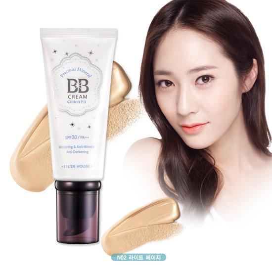 Etude House Precious Mineral BB Cream Cotton Fit SPF30 PA++ #N02 Light Beige สำหรับผิวขาว