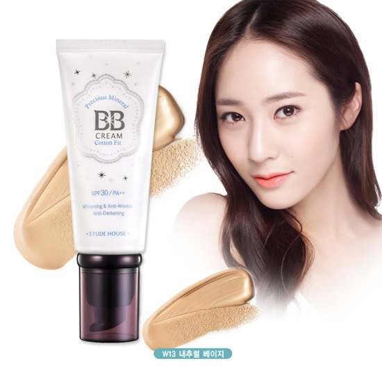 Etude House Precious Mineral BB Cream Cotton Fit SPF30 PA++ #W13 Natural Beige สำหรับผิวขาวเหลือง - ผิวสองสี